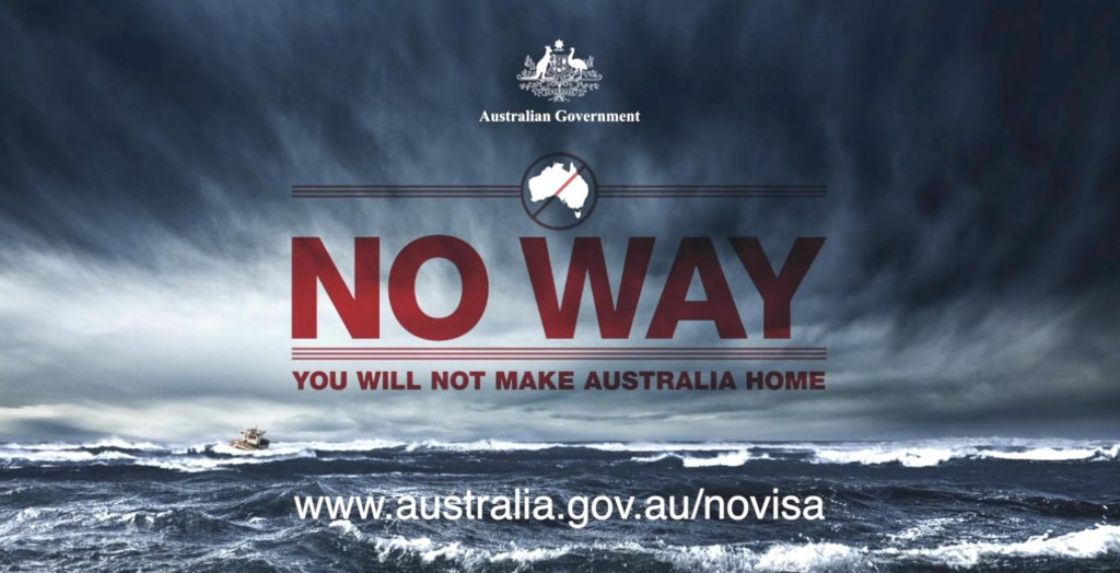 A still image of the video 'No way' ideated by the Australian government to discover the arrivals of illegal immigrants