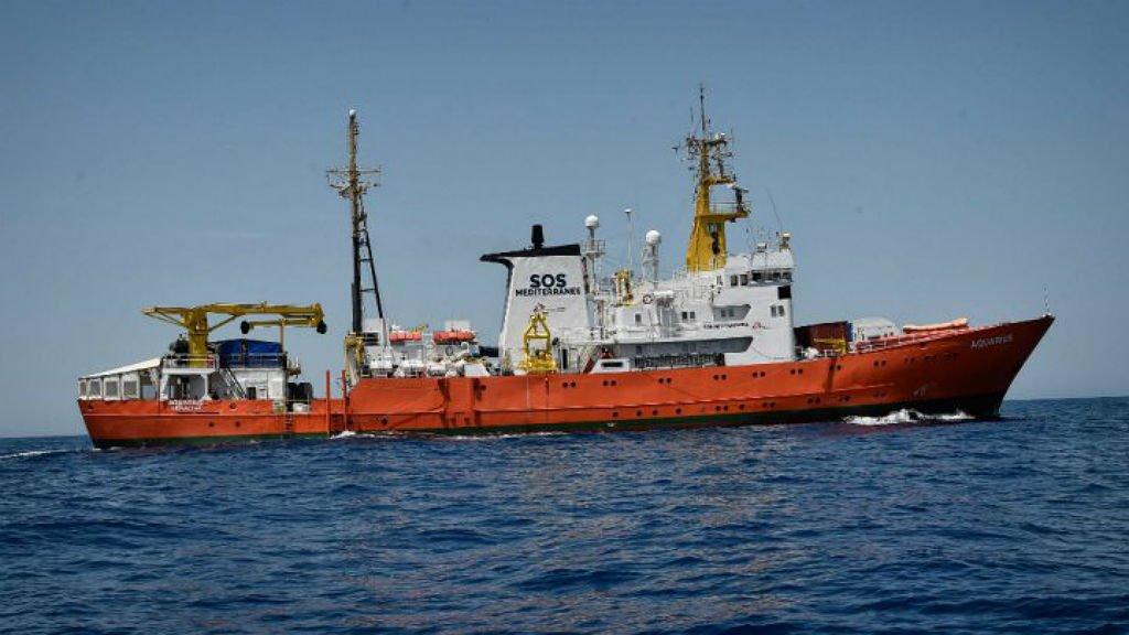 The Aquarius at sea on June 12, 2018   Credit: Louisa Gouliamaki, AFP