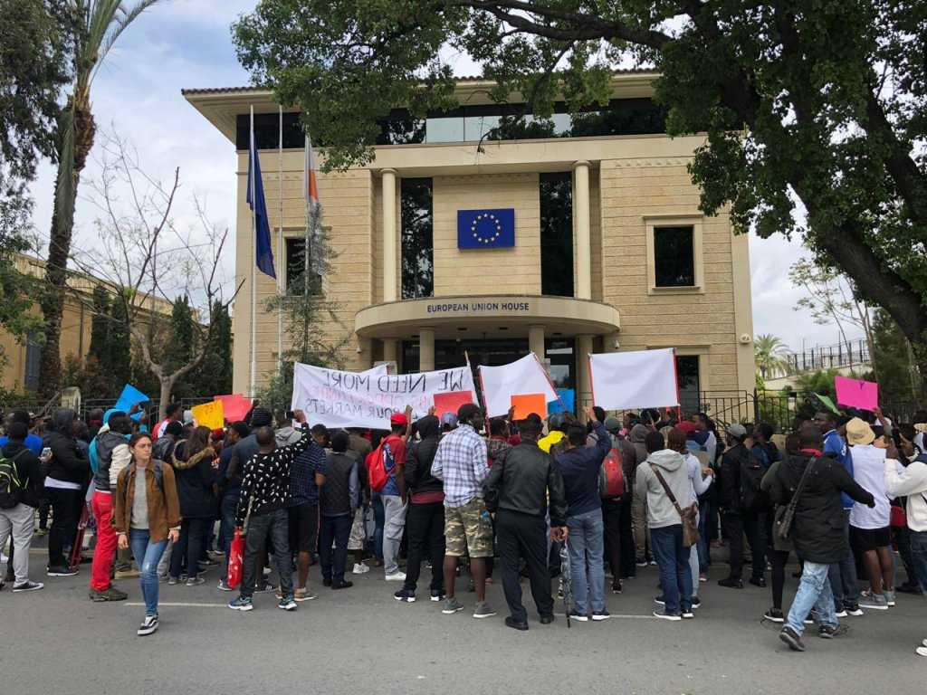 The protest in Nicosia marched to several government and EU institutions to meet with representatives including at the European Union House in Nicosia April 16 2019  Photo Caritas Cyprus