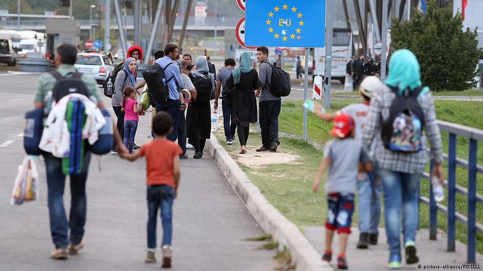 From file: Refugees arriving at Bregana, Croatia, waiting to cross the border into Slovenia in September 2015