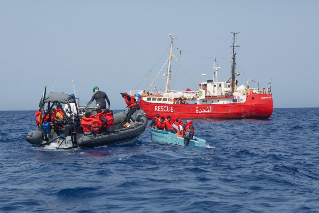 Crew of the 'Seefuchs' vessel during a rescue mission off the Libyan coast. PHOTO/ARCHIVE/SEA EYE