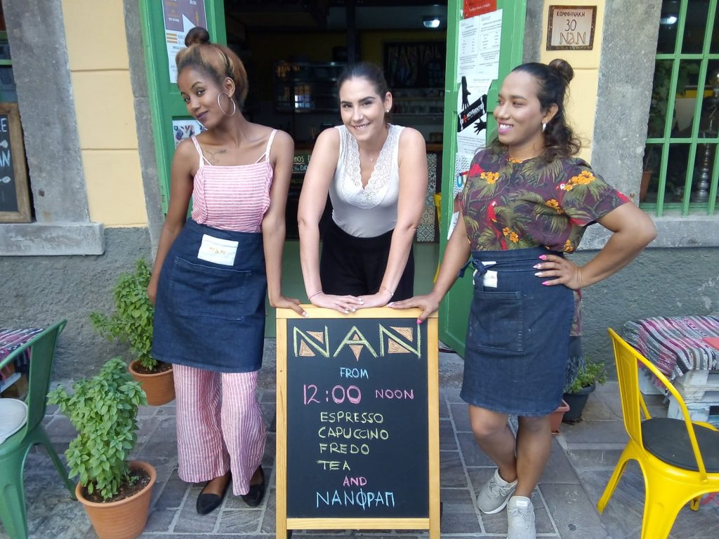 Advertising new opening hours at Nan restaurant on Lesbos. The restaurant was open six days a week 12-23.00 | Source: Nan restaurant facebook page