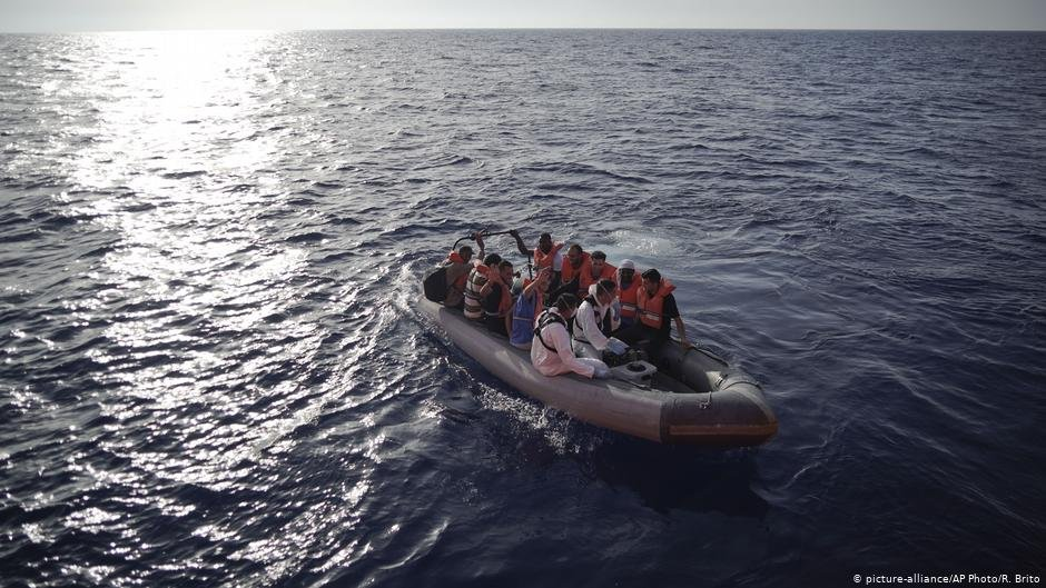 Migrants rescued on a dinghy boat in the Mediterranean Sea  Photo Picture-allianceAP PhotoR Brito