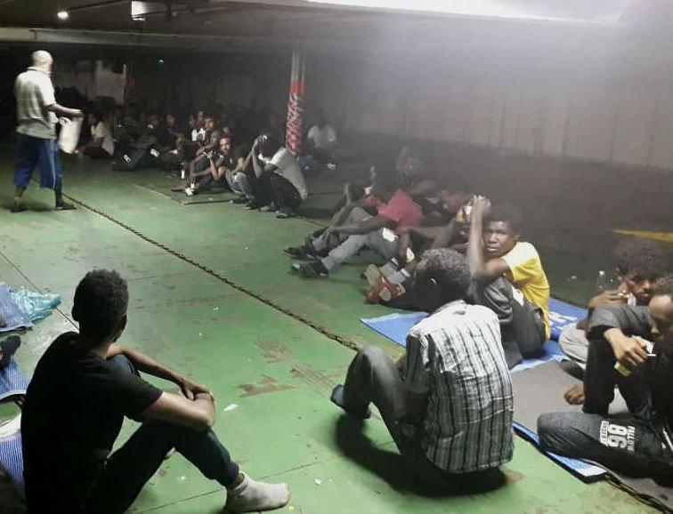 Les migrants du Nivin ont été évacués par les autorités libyennes. Crédit : DR