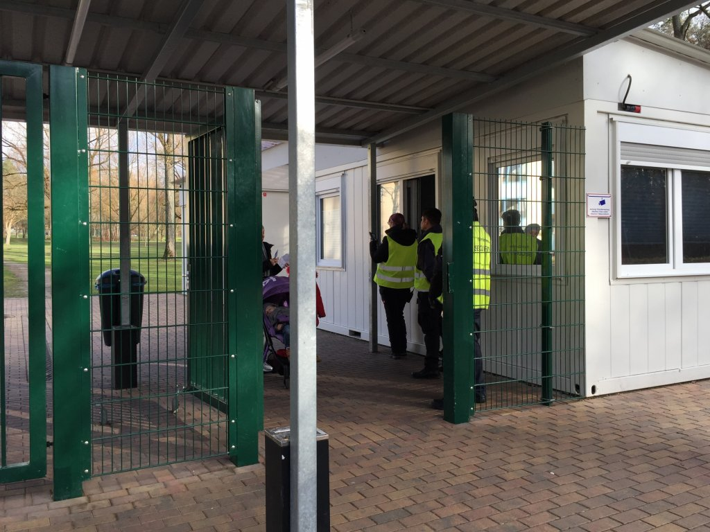 Security personnel keen to protect their anonymity in Bamberg AEO main entrance for residents and visitors December 10 2019  Photo InfoMigrantsMarion MacGregor