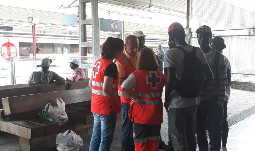 Capture d'écran du compte Twitter de la Croix-Rouge espagnole à Irun.