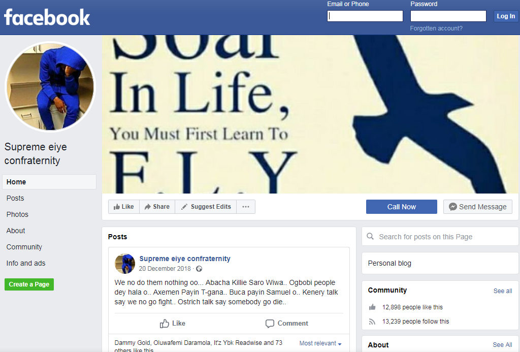 A screenshot of one of the pages on Facebook saying it is linked to the Supreme Eiye Confraternity  Photo Screenshot of Facebook page