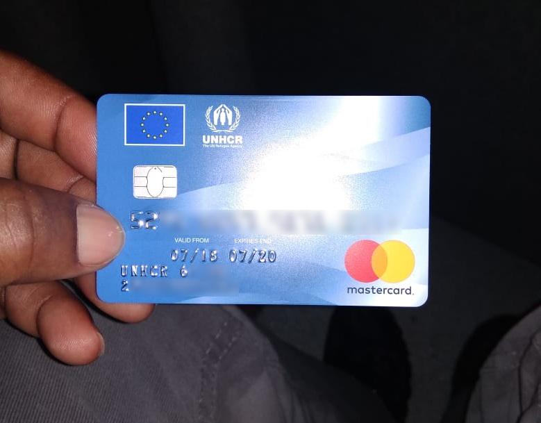 Carte bancaire de Ben, délivrée par le HCR en grèce, en octobre 2017. Crédit : InfoMigrants