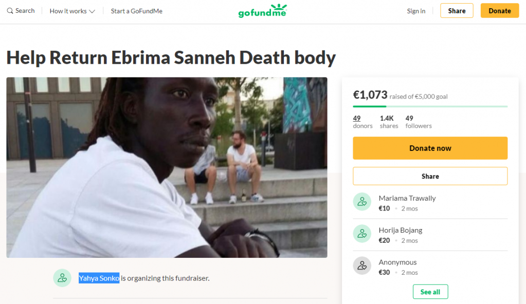 Screenshot from June 25 2020 of GoFundMe website showing fundraising campaign for deceased Gambian in Germany started by Yahya Sonko  Photo Benjamin Bathle