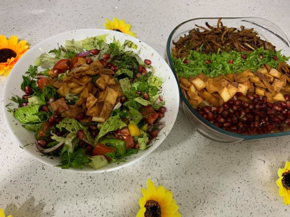 Syrian dishes cooked by Majeda Khouri for a Migrateful cooking class online | Source: Syrian Sunflower Facebook page
