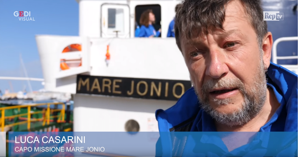Luca Casarini head of mission for Mare Jonio in a still from a video by Giorgio Ruta for Repubblica TV  Photo Giorgio Ruta Repubblica TV