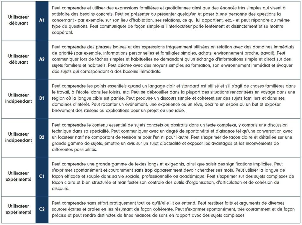 Les différents niveaux de langue officiels. Crédits : france-langue.fr