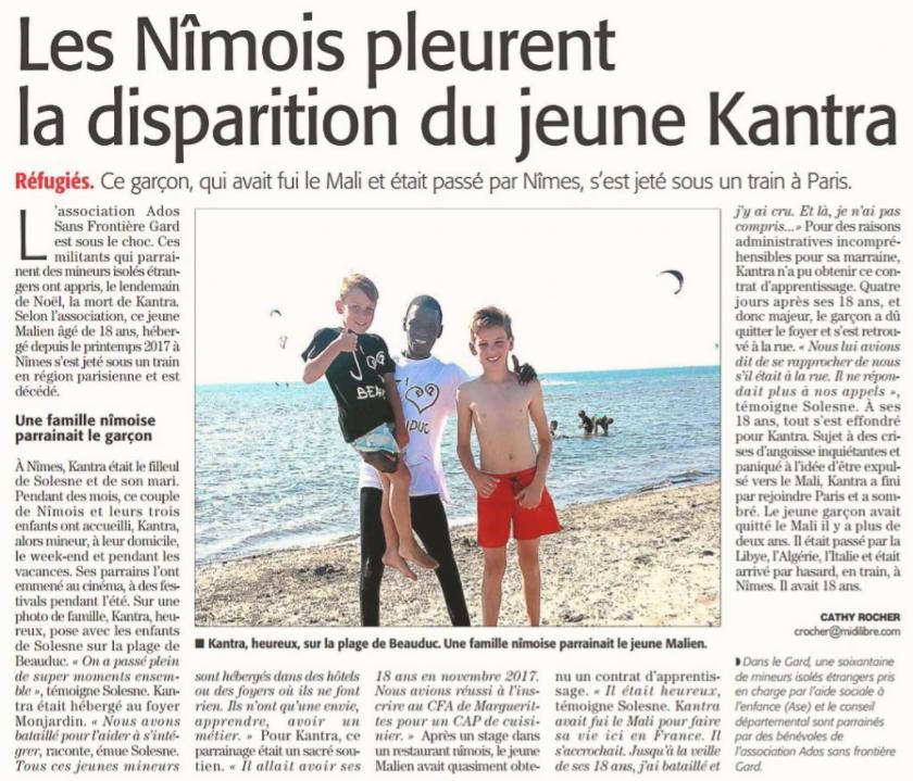 L'article du Midi Libre annonçant la mort de Kantra.