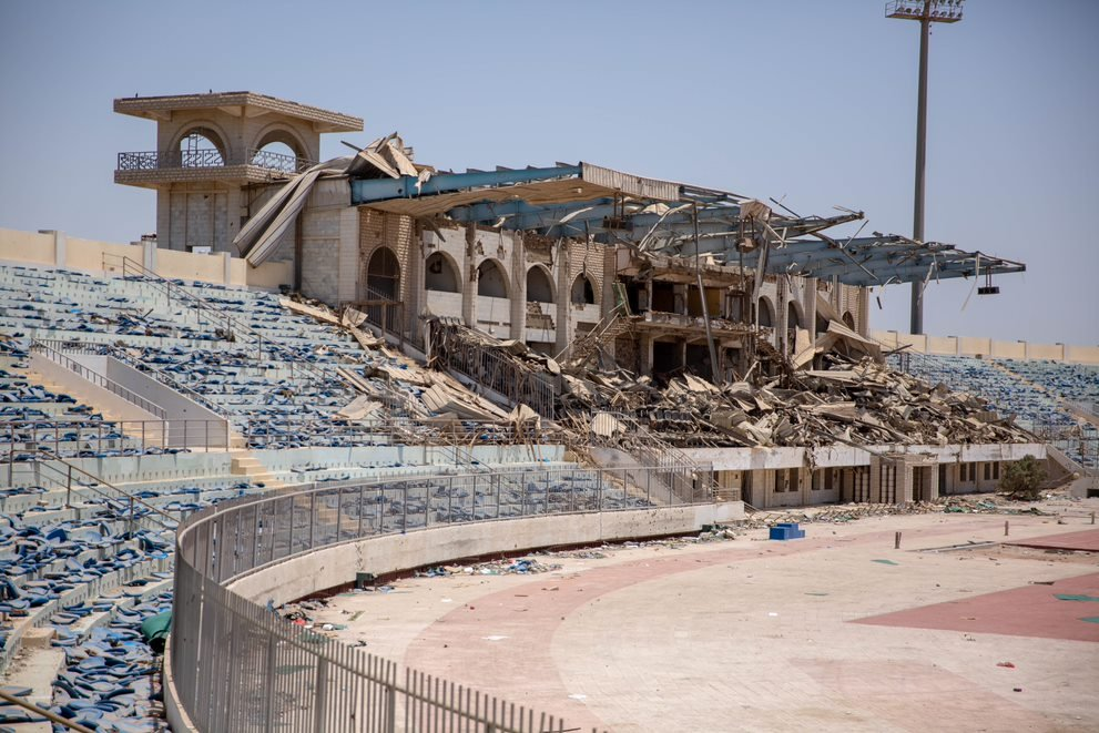 Sports stadium in Yemen where migrants are being detained by the military  Photo credit IOM