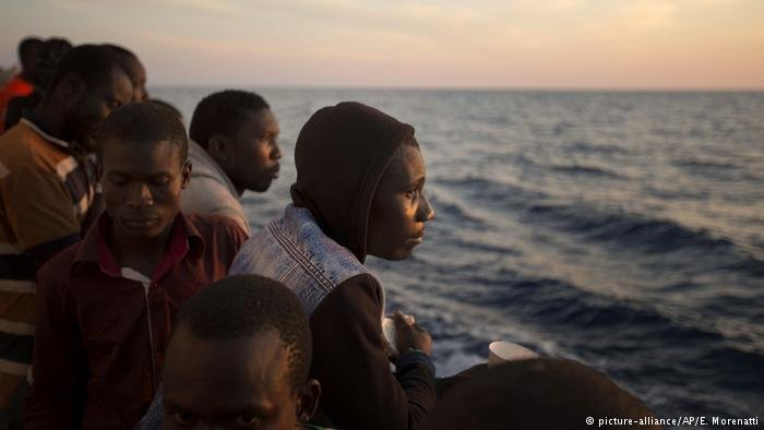 Migrants from sub-Sahara Africa after being rescued in the Mediterranean