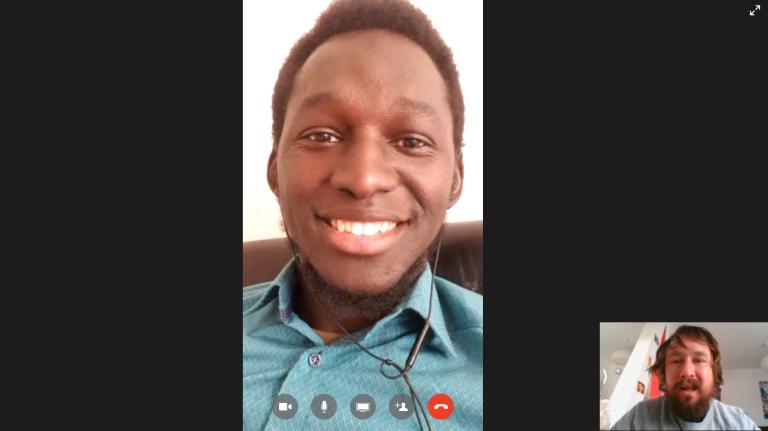 Screenshot of Facebook Messenger video chat between Gambian asylum seeker Yahya Sonko and InfoMigrants journalist Benjamin Bathke on May 19, 2020 | Photo: Benjamin Bathke