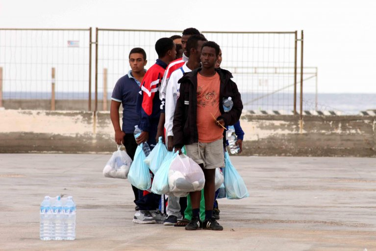 Migrants in Lampedusa. Credit: ANSA/FRANCO LANNINO