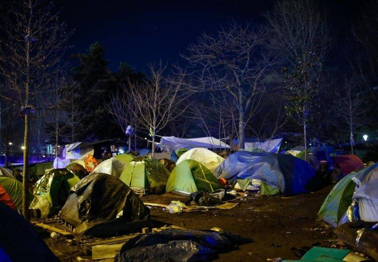 Un camp de migrants près de la porte d'Aubervilliers, dans le nord de Paris. Le 28 janvier 2020. Crédit : Reuters