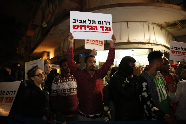 African asylum seekers and local Tel Aviv residents protest against the removal of migrants | Credit: EPA