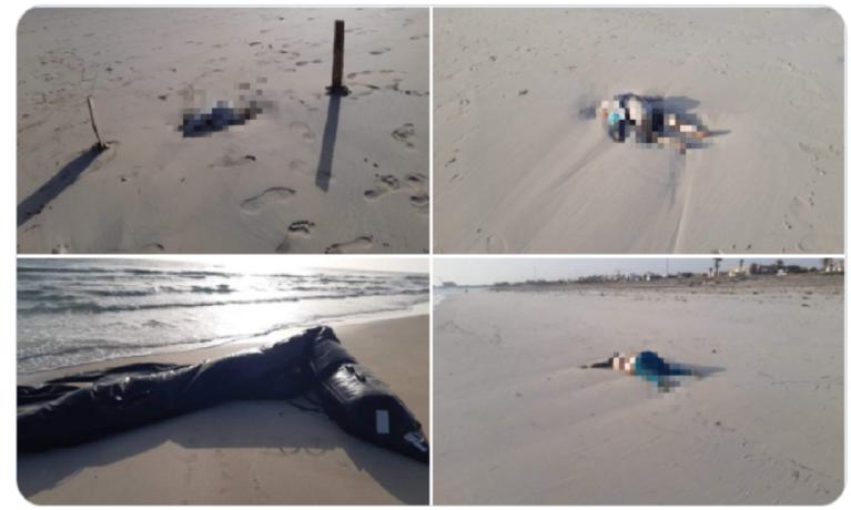 Des cadavres d'enfants et de bébés ont été retrouvés sur une plage libyenne. Crédit : Twitter @nancyporsia