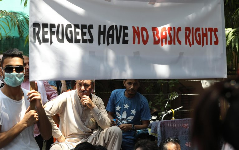 Afghan refugees protest outside UNHCR office New Delhi, India, in June 2019 | Photo: EPA/Rejat Gupta