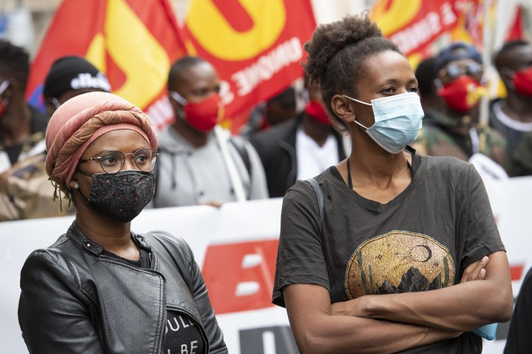 احتجاج للمهاجرين في روما. المصدر: أنسا / ماوريزيو برامباتي.