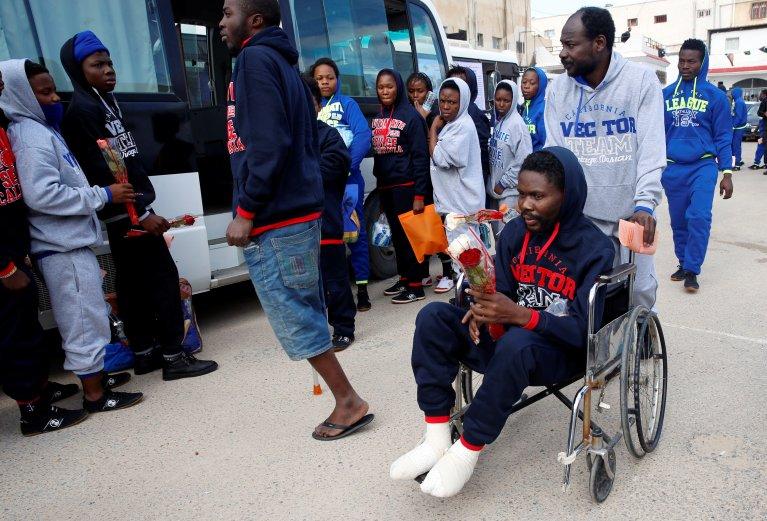 Image d'illustration de migrants dans un centre de rétention en Libye qui ont accepté un retour volontaire dans le pays. Crédit : Reuters