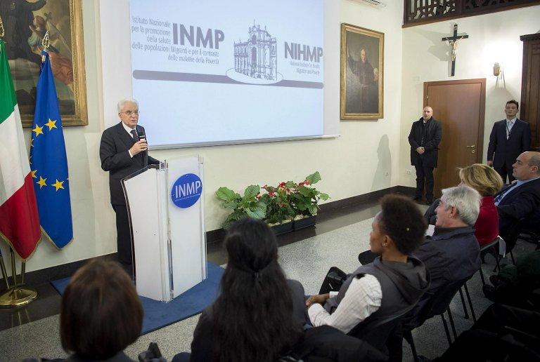Italian President Sergio Mattarella during a visit to INMP   Photo: Paolo Giandotti / Archive / ANSA/ Press office for Italian President