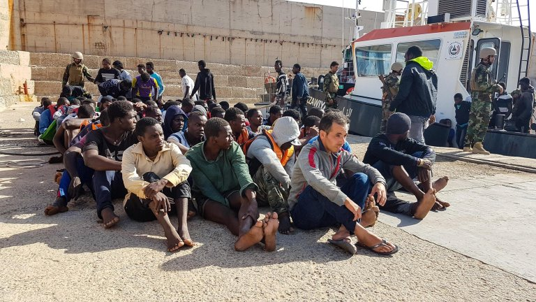 Migrants stopped by Libyan authorities in Zawiya, northwestern Libya | Credit: ANSA/ZUHAIR ABUSREWIL