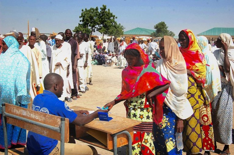 The IOM distributes relief items to IDPs in Ngala town, Borno | Credit: IOM