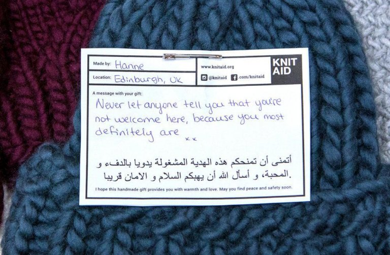 An item made by volunteers of the initiative | Credit: Knit Aid