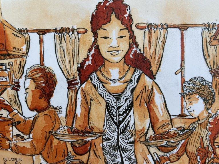 A Ikambere, le partage d'un repas gratuit a lieu chaque jour pour permettre de créer du lien entre ces femmes migrantes et séropositives. Illustration : Jano Dupont, Les Editions de l'Atelier