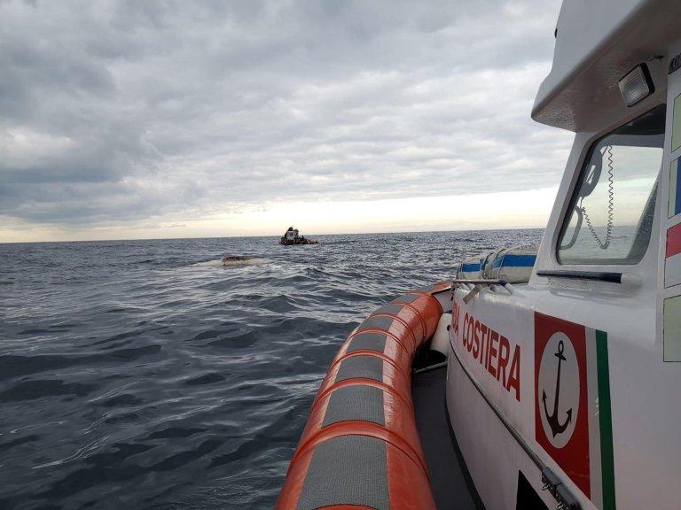 An Italian Coast Guard unit near the island of Ischia. Credit: ANSA/COAST GUARD
