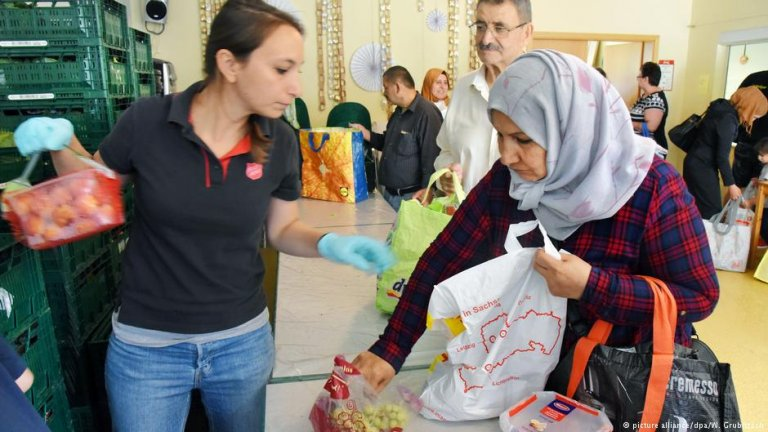 Many refugees come to this food bank in Leipzig, Germany