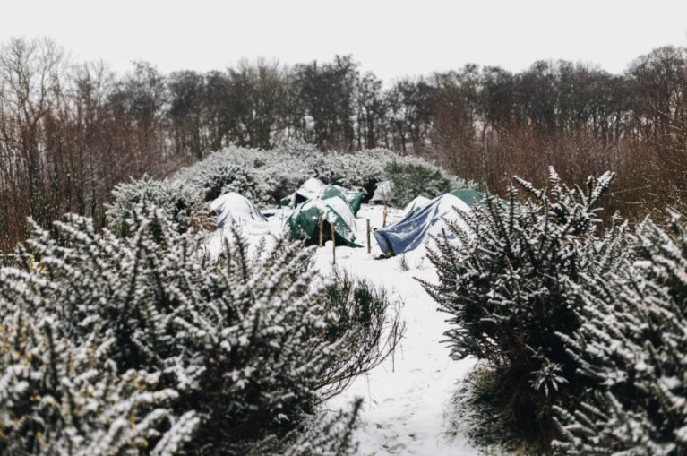 The snow has been falling non-stop in Calais for the past week. Photo: Care4Calais/January 2021