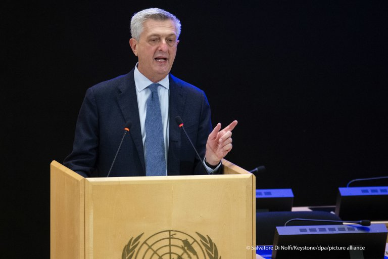 UN refugee chief Filippo Grandi speaking at the UNHCR annual meeting in Geneva on October 5, 2020 | Photo: picture alliance/Salvatore Di Nolfi/KEYSTONE/dpa