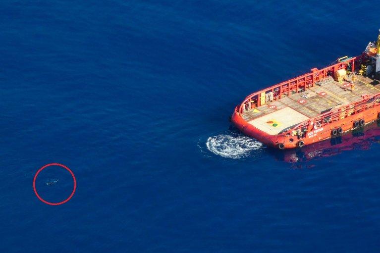 Un migrant nage vers un cargo commercial pour échapper aux garde-côtes libyens, le 11 mai 2019. Crédit : Sea-Watch