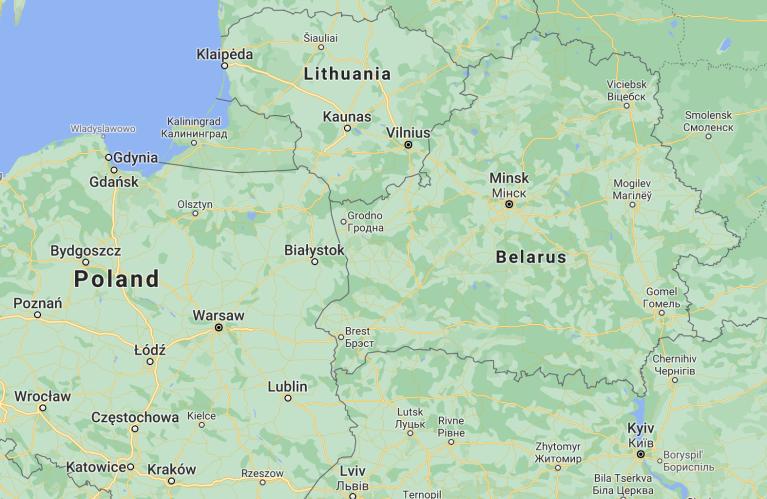 خريطة توضح مكان بولندا وجارتيها ليتوانيا وبيلاروسيا. المصدر: خرائط غوغل