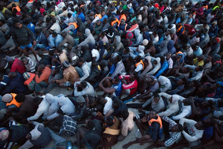 African migrants at a naval base in Tripoli, Libya | Photo: EPA/STR