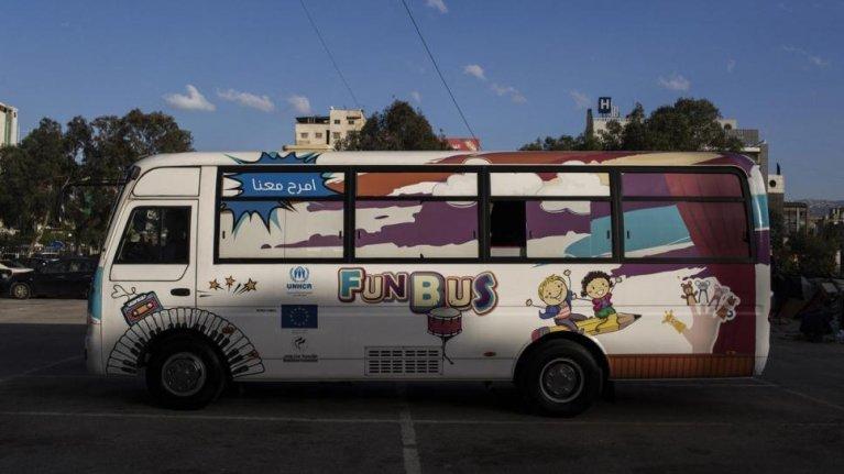 "The ""Fun Bus"" in Lebanon. Credit: UNHCR/Diego Ibarra Sánchez"