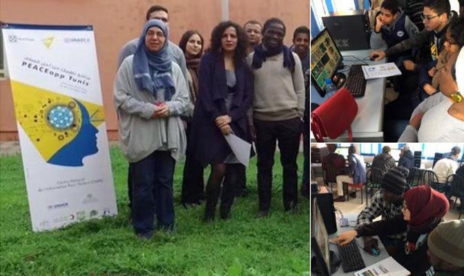 Migrants participating in Peace App workshop in Tunis. Credit: Peace App
