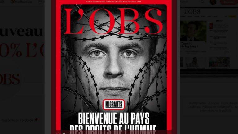 Capture d'écran du compte Twitter @lobs |La Une de l'Obs consacrée à la politique migratoire d'Emmanuel Macron.