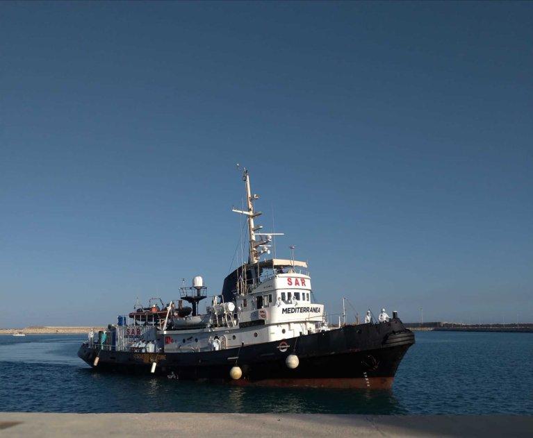 Le Mare Jonio, navire humanitaire de l'ONG italienne Mediterranea Saving Humans. Crédit : Ansa