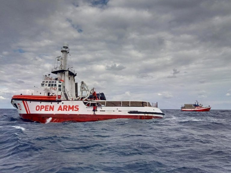 the Open Arms rescue ship sailing in the Mediterranean sea. Credit: OPEN ARMS