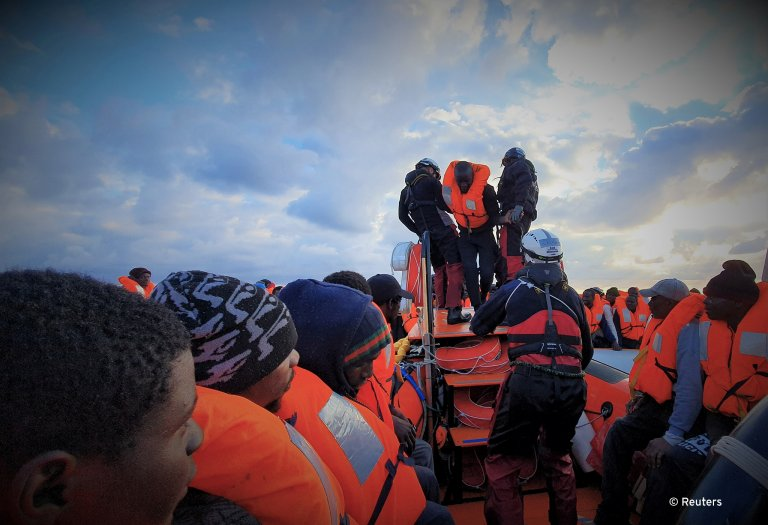 Migrants are rescued by the Ocean Viking crew in an operation on February 18, 2020 | Photo: Reuters/Hannah Wallace Bowman/MSF