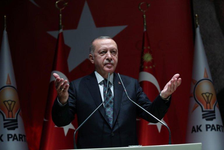 Turkish President Recep Tayyip Erdoğan delivering a speech in Ankara on October 10, 2019   Photo: Presidential Press Office/Handout via REUTERS
