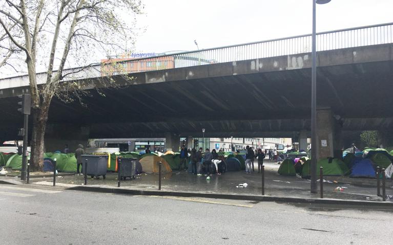 Le camp de migrants, porte de la Chapelle, à Paris. Crédit : InfoMigrants