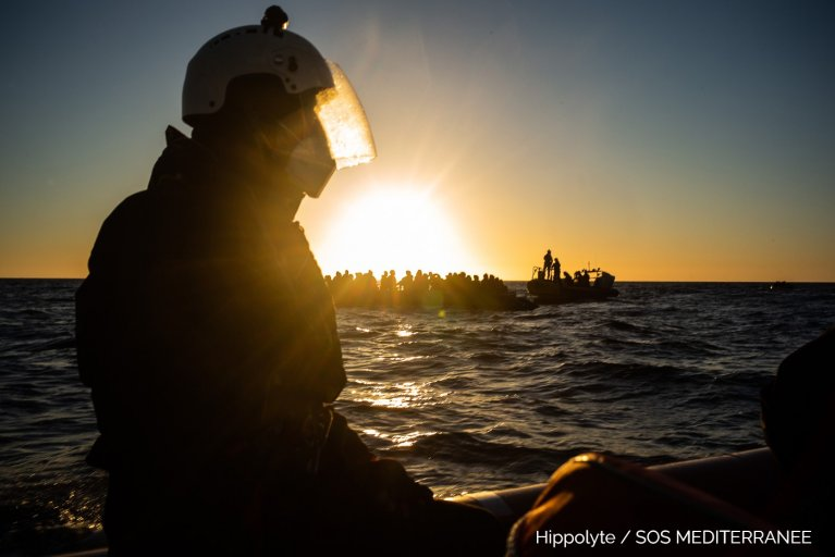 The crew of Ocean Viking made the rescue of the 121 people in the early hours of Thursday, February 4 | Source: Hippolyte / SOS MEDITERRANEE Twitter @SOSMedIntl