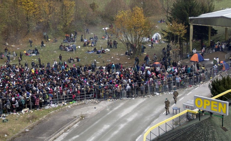 Migrants waiting at the Slovenian-Austrian border in Spielfeld, Austria | Credit: ARCHIVE/EPA/ERWIN SCHERIAU