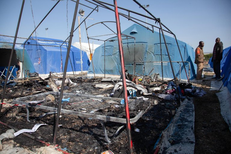 The tent where a migrant died in a fire that broke out in the new tent camp managed first by the city and now by Caritas in San Ferdinando. Photo: ANSA